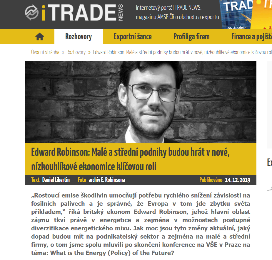 Edward Robinson interviewed for Czech journal, Trade News
